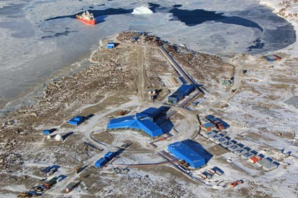 RV Araon and Jang Bogo Station in Terra Nova Bay, East Antarctica