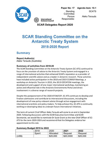 SCAR XXXVI Paper 17: Report of Standing Committee on the Antarctic Treaty System (SCATS)