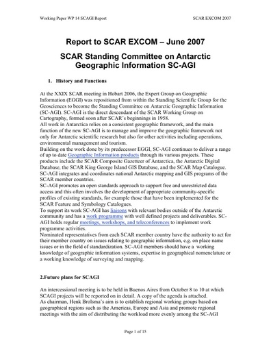 SCAR EXCOM 2007 WP14: Report on the Standing Committee on Antarctic Geographic Information (SC-AGI)