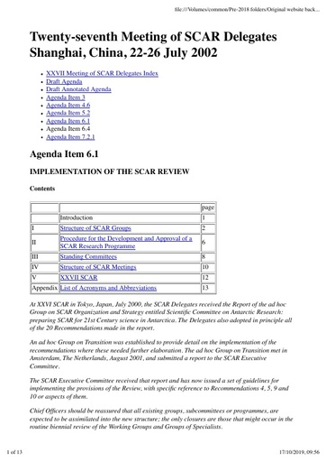 SCAR XXVII Paper 6: Implementation of the SCAR Review