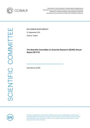 SCAR Annual Report 2017/18 to CCAMLR