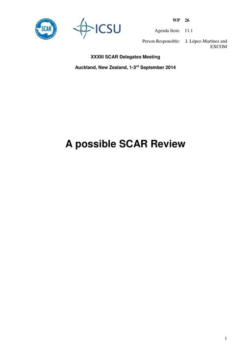 SCAR XXXIII WP26: A Possible SCAR Review