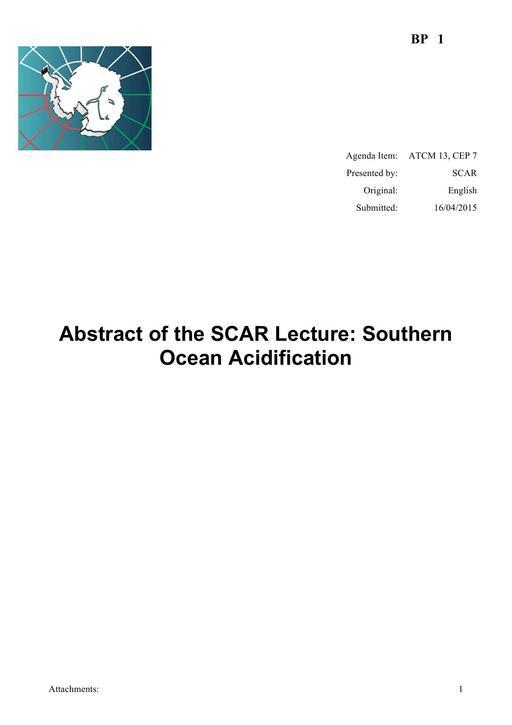 BP001: SCAR Lecture: Southern Ocean Acidification