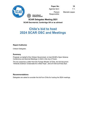 SCAR XXXVI Paper 18: Bid from Chile to Host SCAR 2024