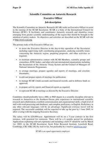 SCAR EXCOM 2005 29: Executive Officer Job Description