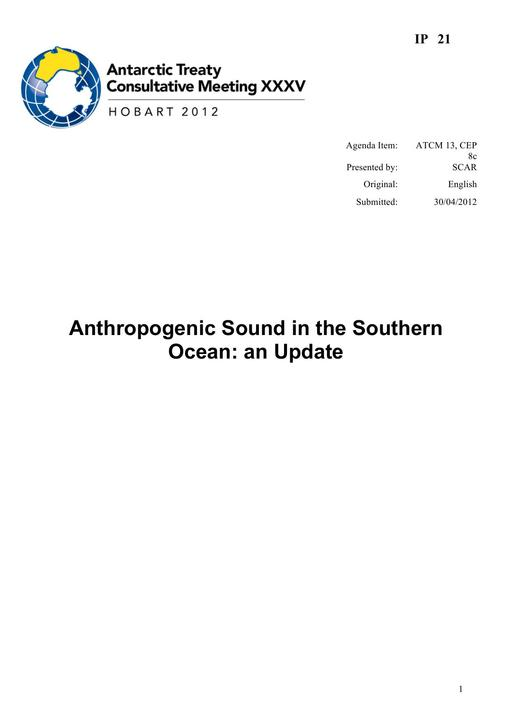 IP021: Anthropogenic Sound in the Southern Ocean: an Update