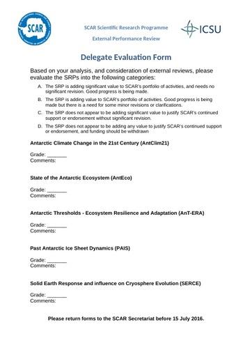 Delegate Evaluation Form for 2016 SRP Review