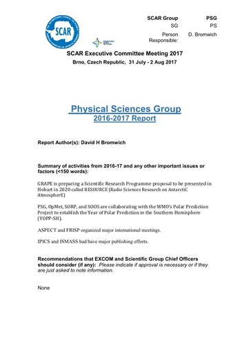 SCAR EXCOM 2017 Paper 4: Report of Physical Sciences Group Activities and Plans