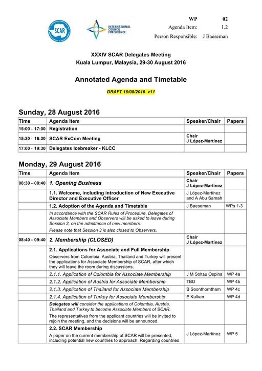SCAR XXXIV WP02: Annotated Agenda and Timetable