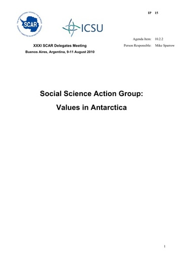 SCAR XXXI IP15: Social Science Action Group: Values in Antarctica