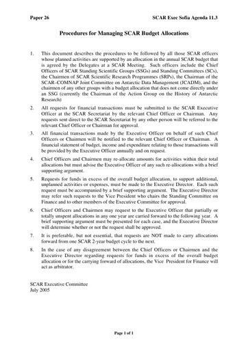 SCAR EXCOM 2005 26: Procedure for COs to Manage SSG Budgets
