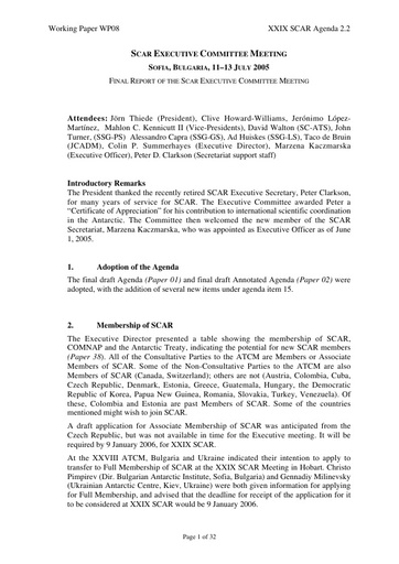 SCAR XXIX WP08: Report of the SCAR Executive Committee Meeting, Sofia, July 2005