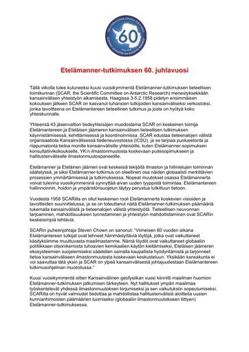 Finnish version of SCAR's 60th Anniversary Press Release