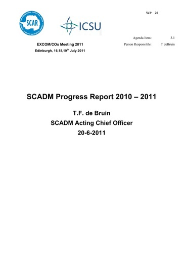 SCAR EXCOM 2011 WP20: Report on SCADM 2010 – 2011