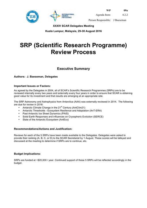 SCAR XXXIV WP09a: SRP (Scientific Research Programme) Review Process