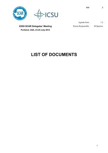 SCAR XXXII WP03: List of Documents