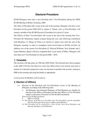 SCAR XXIX WP12: Electoral Procedure