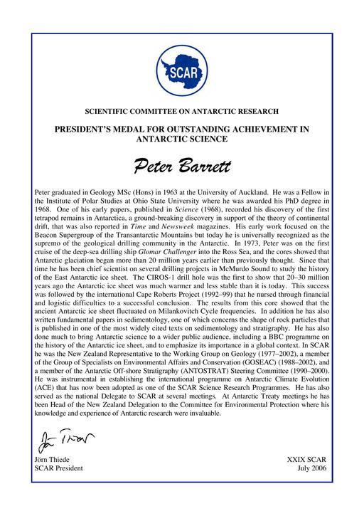Peter Barrett - SCAR President's Medal for Outstanding Achievement 2006