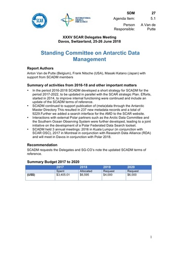 SCAR XXXV WP27: Standing Committee on Antarctic Data Management (SCADM)