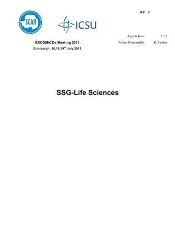 SCAR EXCOM 2011 WP08: Report of SSG Life Sciences