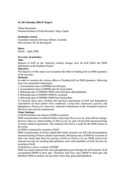 Kasamatsu 2006 Fellowship Report