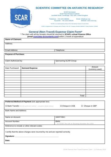 2019 SCAR General Claim Form