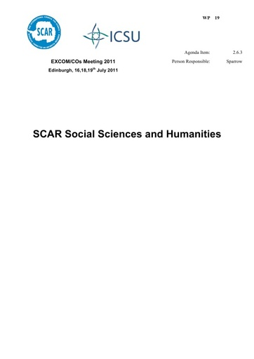 SCAR EXCOM 2011 WP19: Report on SCAR Social Sciences and Humanities
