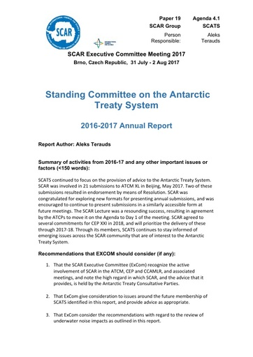 SCAR EXCOM 2017 Paper 19: Report from SCATS