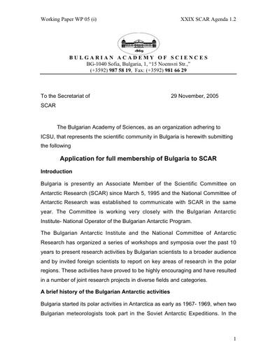 SCAR XXIX WP05i: Application for Bulgaria for Full Membership