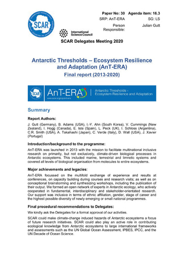 SCAR XXXVI Paper 30: Final Report of SRP AnT-ERA (Antarctic Thresholds – Ecosystem Resilience and Adaptation)