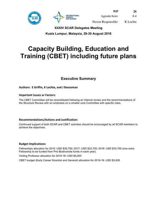 SCAR XXXIV WP26: Capacity Building, Education and Training (CBET), including Future Plans