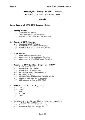 SCAR XXVIII 01: Agenda