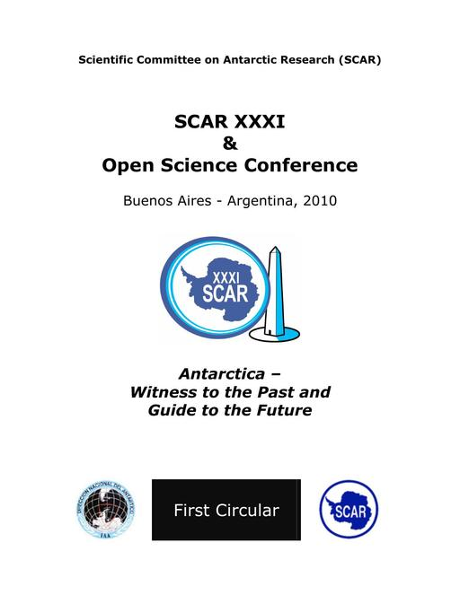 SCAR Open Science Conference 2010 - 1st Circular