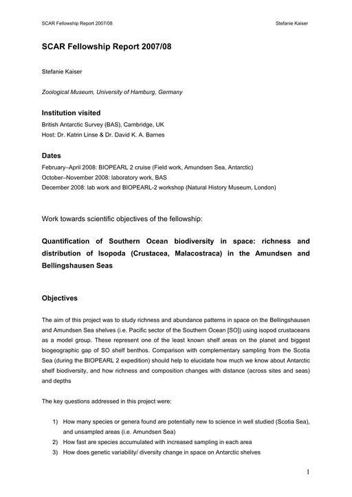 Kaiser 2007 Fellowship Report