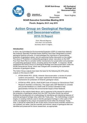Geoheritage & Geoconservation Action Group Report 2019