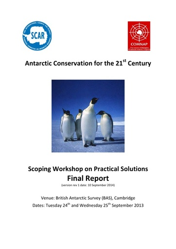 Workshop Report on Antarctic Conservation Strategy, September 2013