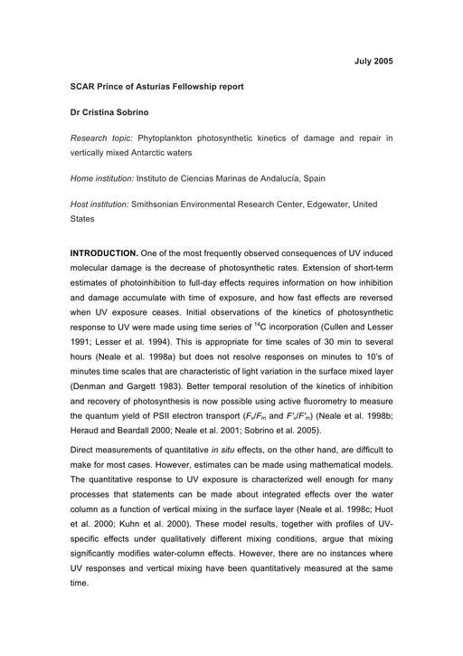 Sobrino 2003 Asturias Fellowship Report