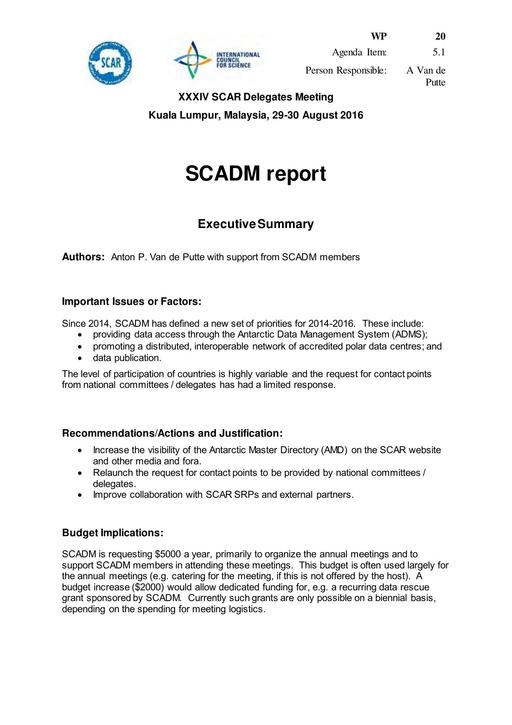 SCAR XXXIV WP20: Report on SCADM (Standing Committee on Antarctic Data Management)