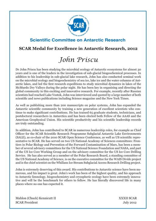 John Priscu - SCAR Medal for Excellence in Antarctic Research 2012