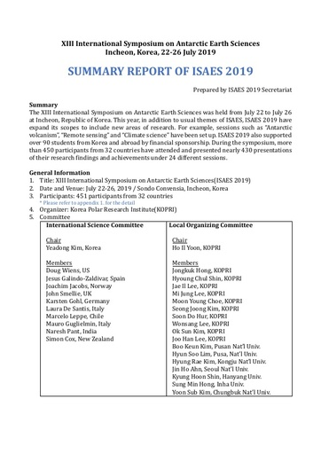 XIII ISAES Summary Report