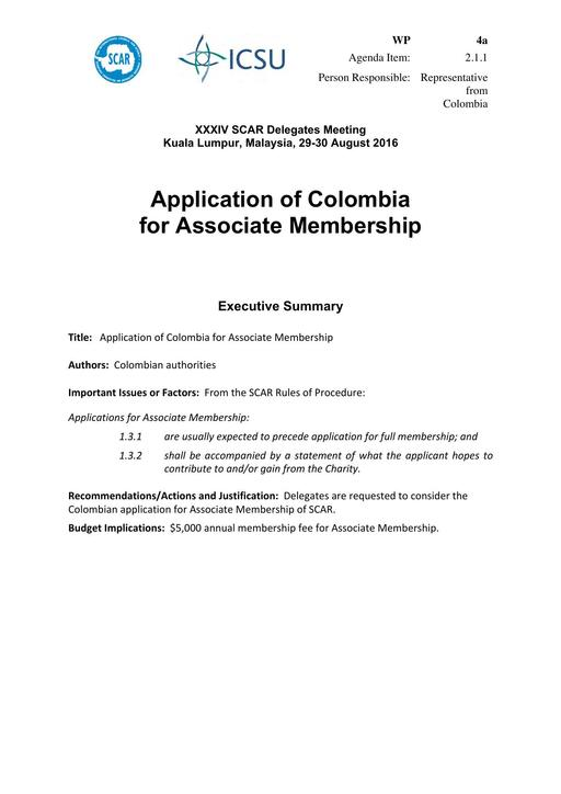 SCAR XXXIV WP04a: Application of Colombia for Associate Membership