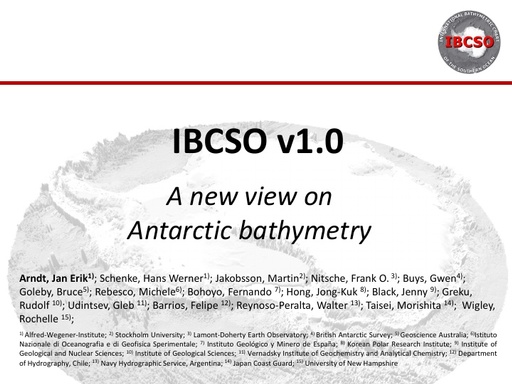 Oral presentation at the Eighth Annual GEBCO Bathymetric Science Day