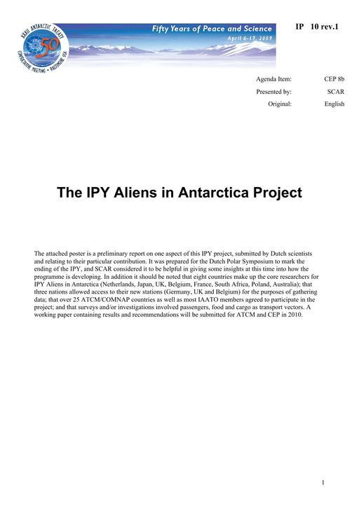 IP010: The IPY Aliens in Antarctica Project