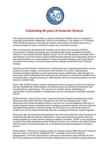 SCAR's 60th Anniversary Press Release, 5 February 2018