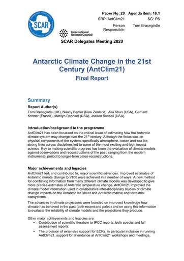 SCAR XXXVI Paper 28: Final Report of SRP AntClim21 (Antarctic Climate Change in the 21st Century)