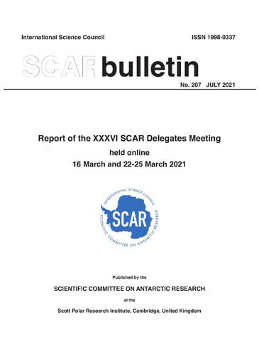 SCAR Bulletin 207 - 2021 July - Report of the XXXVI SCAR Delegates Meeting, Online, 2021