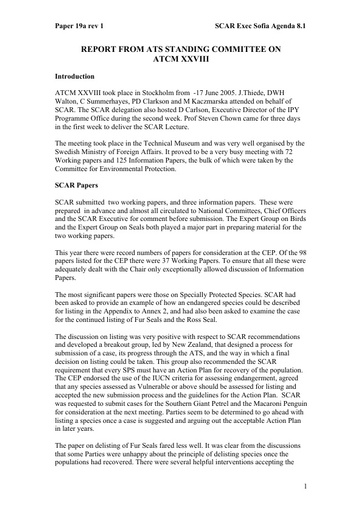 SCAR EXCOM 2005 19a: Report from the ATS Standing Committee on ATCM XXVIII, Stockholm, June 2005