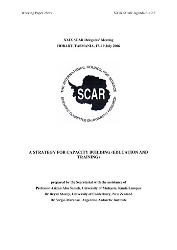 SCAR XXIX WP28: Capacity Building and Education Plan