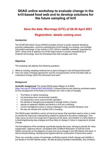 Background information for SKAG Workshop, April 2021