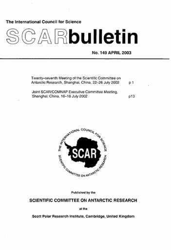 SCAR Bulletin 149 - 2003 April - Report of the XXVII Meeting of SCAR Delegates, Shanghai, China, 2002